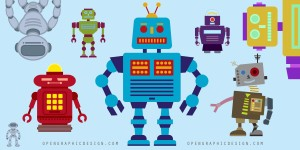 Retro Robots in vector art